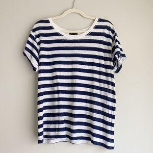 Theory • Navy & White Stripe Linen Top